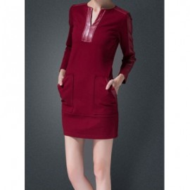 Vintage V-Neck Long Sleeves Faux Leather Splicing Pocket Dress For Women