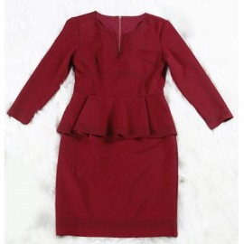 Vintage V-Neck Long Sleeves Flounce Zippered Dress For Women