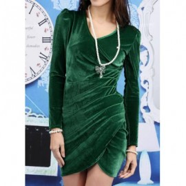 Vintage V-Neck Long Sleeves Pleated Asymmetric Dress For Women