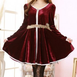Vintage V-Neck Long Sleeves Zippered Velvet Dress For Women