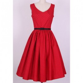 Vintage V-Neck Polka Dot Print Pleated Sleeveless Rockabilly Dress For Women