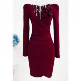 Vintage V-Neck Ruched Solid Color Long Sleeve Bodycon Dress For Women