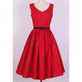 Vintage V-Neck Ruffled Polka Dot Print Sleeveless Women's Country Western Dress With A Belt