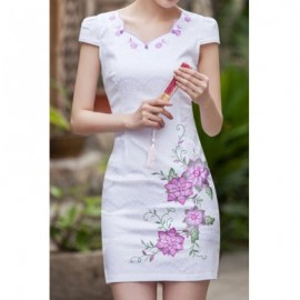 Vintage V-Neck Short Sleeve Flower Embroidered Women's Dress