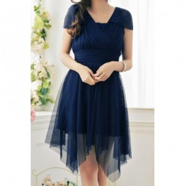 Vintage V-Neck Short Sleeves Solid Color Irregular Hem Dress For Women