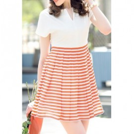Vintage V-Neck Short Sleeves Striped Splicing Dress For Women