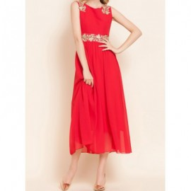 Vintage V-Neck Sleeveless Lace Splicing Chiffon Dress For Women