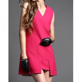 Vintage V-Neck Sleeveless Solid Color Asymmetric Dress For Women