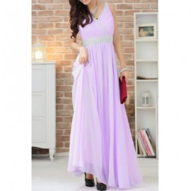 Vintage V-Neck Sleeveless Solid Color Rhinestoned Prom Long Dress For Women