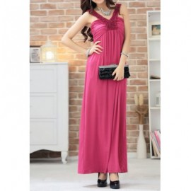 Vintage V-Neck Solid Color Long Prom Dress For Women