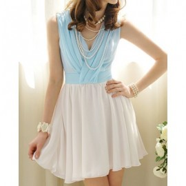 Vintage V-Shaped Neck Sleeveless Color Block Pleated Dress For Women