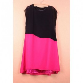 Women's Chiffon Retro Style Dress With Splicing Color Block Short Sleeves Scoop Neck Design