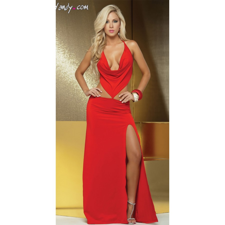 Fashion Women Sexy Cowl Neck Floor Length Long Gown Blackred Club