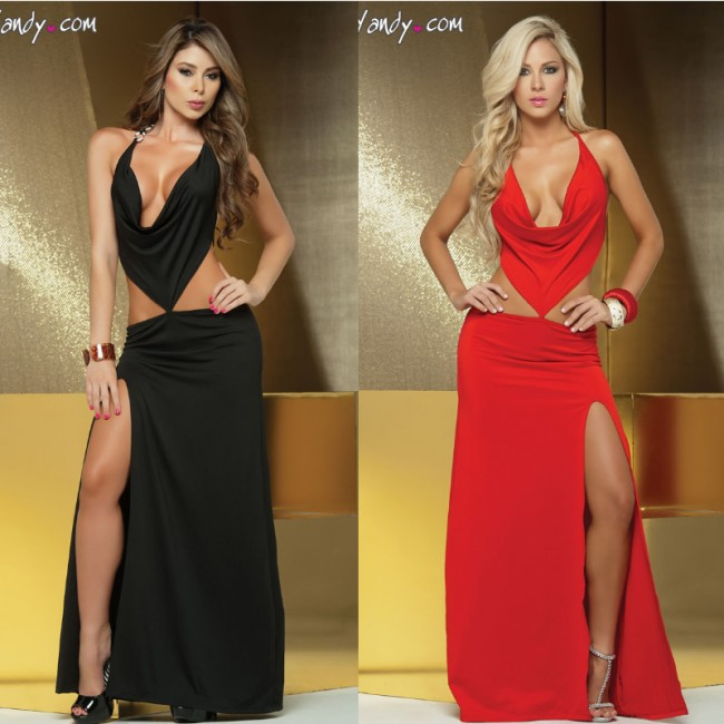 Fashion Women Sexy Cowl Neck Floor Length Long Gown Black/red Club Party Dress Evening Prom Dress 8540