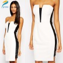 Summer Casual Women Sexy Strapless Bodycon Bandage Dress Ruffles Celeb Prom Evening Party Dresses HW0272