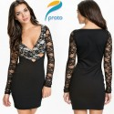Autumn Long Sleeve Vestidos Floral Print Women Sexy Bandage Bodycon Dress Sexy Evening Women Party Dresses HW0269