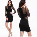 Fashion Black Mesh Long Sleeve Bandage Dress Summer Women Zip Dress Office Lady Bodycon Dress Casual Mini Dress 9114