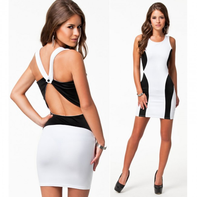 Fashion Black and White Patchwork Bandage Dress Backless Bodycon Dress High Street Mini Casual Summer Dress 9106