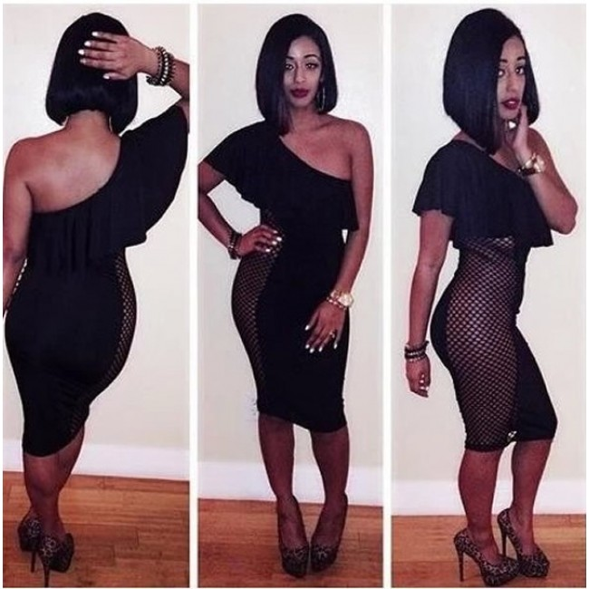 Fashion Bodycon Bandage Dress Black One Shoulder Ruffles Mini Dress Sexy Night Club Dress Evening Party Dress DZ003