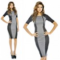Fashion Half Sleeve Autumn Dress Brief Patchwork Slim Fitted Bodycon Bandage Dress High Street Casual Dress 9073