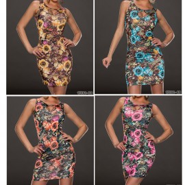 Fashion Sexy Floral Printed Vintage Dress Sleeveless Bodycon Slimming Vestidos Desigual Summer Mini Dress 9150