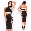 Fashion Summer Dress Women Two Piece Crop Top and Bodycon Pencil Dress Twin Set Sexy Club Dress 9104