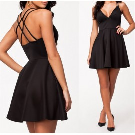 Fashion Women Deep V Neck Brief Summer Casual Dress Criss Cross Bakc Big Swing Skater Dress 9105