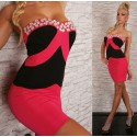 Fashion Women Sexy Strapless White and Black Patchwork Bodycon Bandage Dress 2419