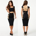 Fashion Women Summer Clothing Set Sexy Crop Top and Pencil Skirt Set 2 Piece Bodycon Twin Set 9085