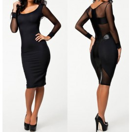 Long Sleeve Autumn Dress Black Bodycon Bandage Dress Midi Pencil Dress OL Brief Women Work Wear Office Dress 9076