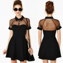 Summer Dress Women Gauze Panel Big Swing Skater Dress Mini Casual Dress 9047