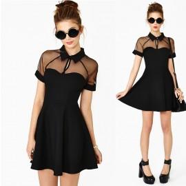 Summer Dress Women Gauze Panel Big Swing Skater Dress Mini Casual Dress 9047