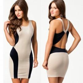 Summer Dress Women Sexy Khaki and Black Patchwork Bodycon Bandage Dress Celebrity Club Dress 9106
