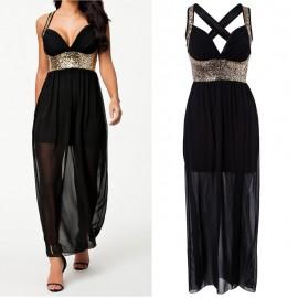 Summer Dress Women Vestidos Halter Black Sexy Hollow Out Back Sequined Party Dress Long Maxi Chiffon Dress 9110