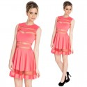 Summer Dress Women Vestidos Mesh Patchwork A Line Casual Dress Lady Pink Lolita Cute Dress 9038