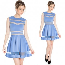 Summer Dress Women Vestidos Mesh Patchwork A Line Casual Dress Lady Pink Lolita Cute Dress 9038