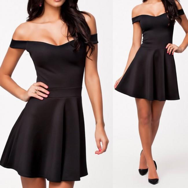 Vestidos De Festa  Women Solid Color Basic Summer Casual Dress Off the Shoulder Sexy Evening Party Dress 9081