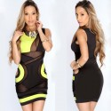Vestidos De Festa Bodycon Patchwork Bandage Transparent Casual Pencil Dress Club Party Women Summer Dresses HW0243