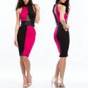 Vestidos De Festa White and Black Patchwork Leather Bodycon Midi Pencil Dress Sexy Bandage Casual Party Dress 9124