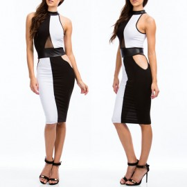 Vestidos De Festa White and Black Patchwork Leather Bodycon Midi Pencil Dress Sexy Bandage Casual Party Dress 9124