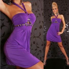 Vestidos De Festa Women Sexy Pink and Purple Halter Sleeveless A Line Summer Casual Dress Sexy Club Party Dress 2423