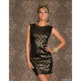 Vestidos De Festa Women Sexy Sleeveless White and Black Gold Foil Bodycon Mini Dress Evening Party Dress 9054