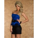 Vestidos De Festa Women Strapless Bodycon Peplum Dress with Bow Sexy Mini Club Party Dress 9025