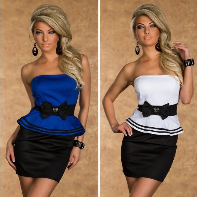 Vestidos De Festa Women Strapless Bodycon Peplum Dress with Bow Sexy Mini Club Party Dress 9025