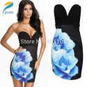 Vestidos De Festa Women Strapless Floral Printed Flowers Bodycon Bandage Dress Sexy Mini Celeb Club Party Dress HW0249