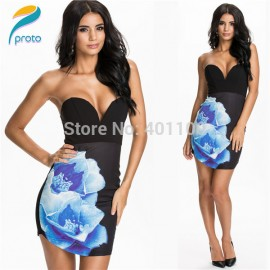 Vestidos De Festa Women Strapless Floral Printed Flowers Bodycon Bandage Dress Sexy Mini Celeb Club Party Dress HW0249