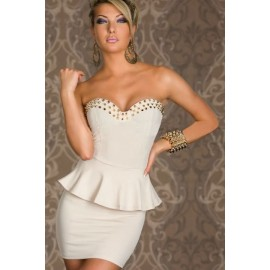 Vestidos De Festa Women Strapless Spike Wrap Fitted Peplum Dress Sexy Mini Bodycon Bandage Dress Hot Club Dress 1349