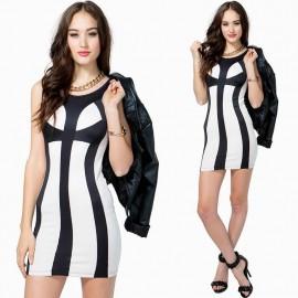 Vestidos De Festa Women White and Black Patchwork Bodycon Dress Mini Brief Summer Dress Sexy Slim Club Dress 9113