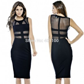 Vestidos Women Black Mesh Patchwork Midi Bodycon Bandage Dress Summer Elegant Casual Dress Women Work Wear HW0080