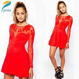 est Vestido De Festa Women Long Sleeve Velvet Autumn Dress Embroidery A Line Casual Skater Dress Party Dresses HW0235